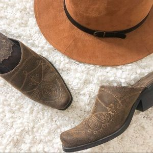 MUDD BROWN WESTERN EMBROIDERED MULES